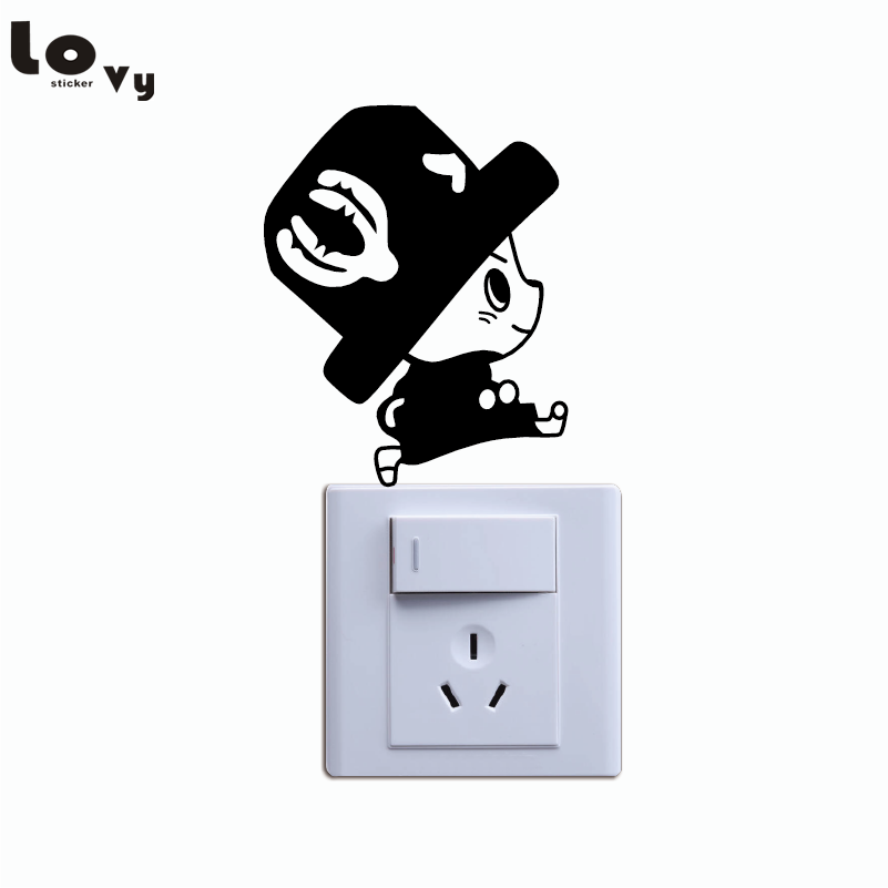 Cute Chopper Switch Sticker Cartoon One Piece Vinyl Wall Stickers for Kids Room Bedroom Home Decor