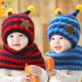 3752 bonnet baby hat baby hat scarf set winter ear protector plus velvet cap muffler scarf twinset