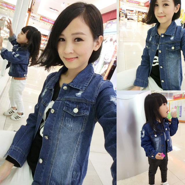 Family clothes outfits mother and daughter/son children's clothing hole denim outerwear female casual jeans coat kids boy jacket