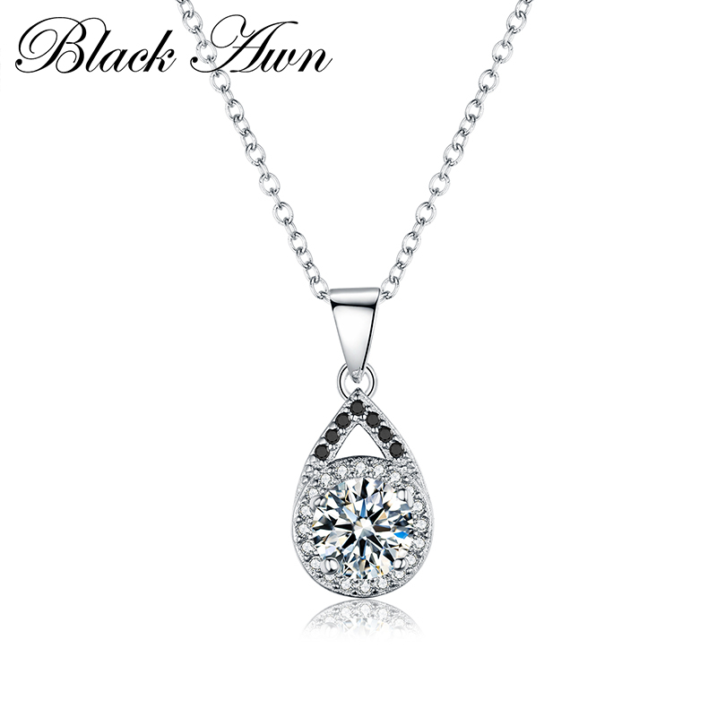 [BLACK AWN] Genuine 925 Sterling Silver Necklace For Women Jewelry Trendy Water-Drop Necklaces Pendants Female Bijoux P056
