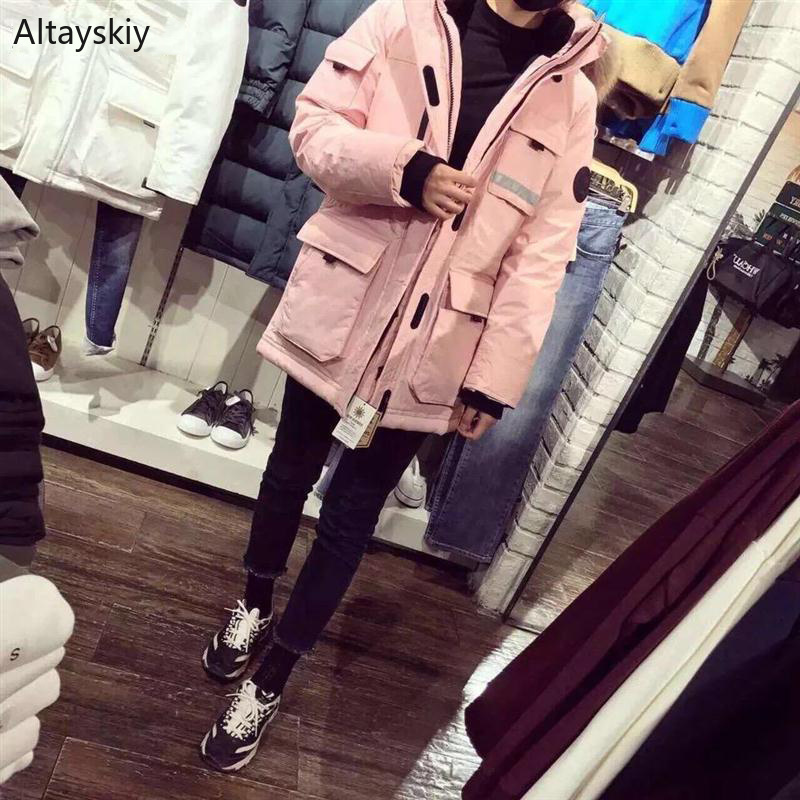 Parkas   Women Zipper Pockets Leisure Korean Style Daily Harajuku Simple All-match Trendy   Parka   Womens High Quality Warm Coats