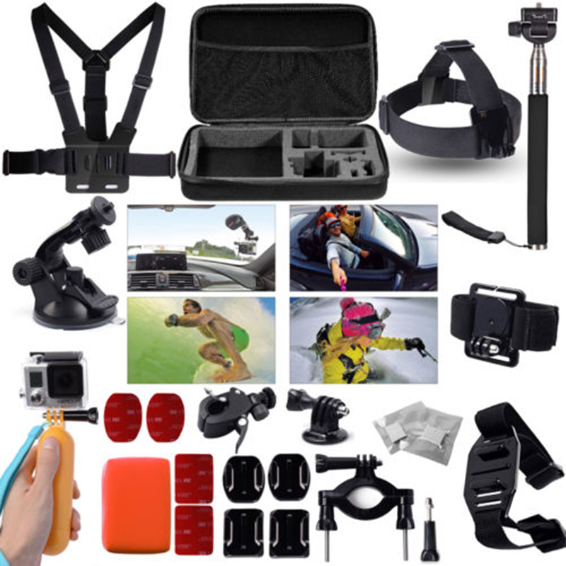 Accessories Set 30in1 Bag/ Chest Strap/Tripod head selfie sports floating bomb for Gopro Hero 3 3+ 4 5 /SJ4000 sj5000 xiaomi yi gopro accessories kit gopro selfie monopod chest belt head band wrist strap helmet strap moubt bag for gopro hero 3 3 plus 4