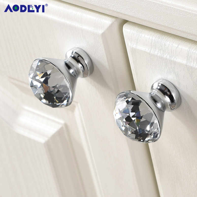 Luxury Gold ภาษาเช็คคำคริสตัลรอบตู้ประตูลูกบิดและมือจับเฟอร์นิเจอร์ตู้ตู้เสื้อผ้าลิ้นชักจับดึง