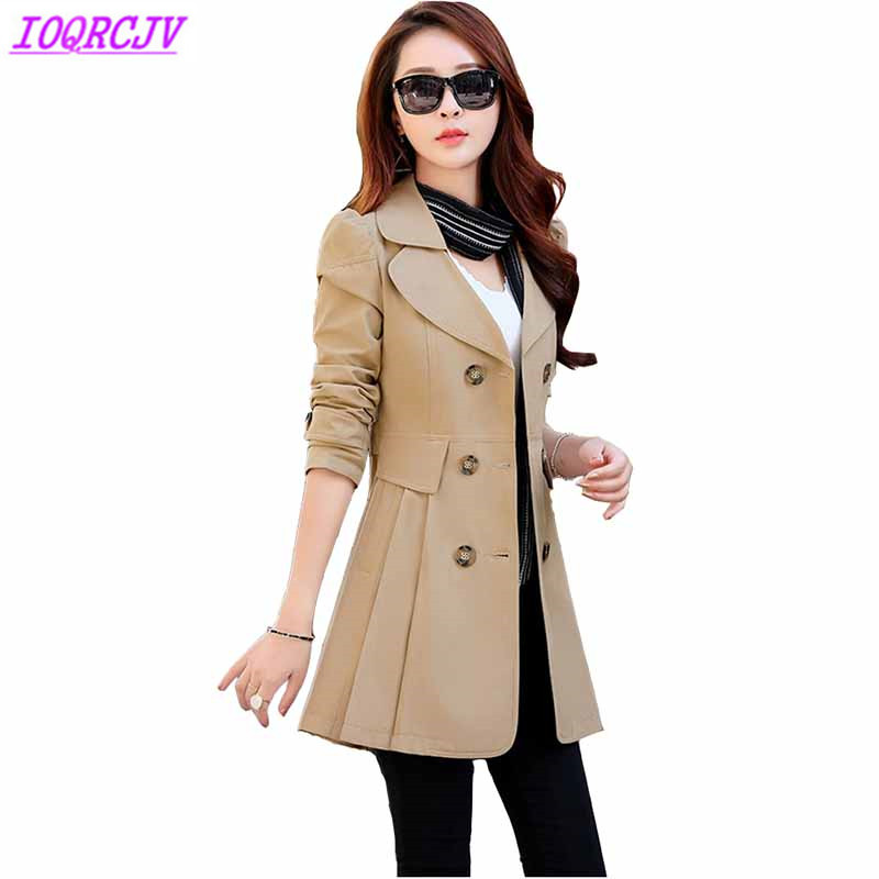 Trench   coat for women 2018 Spring autumn Double-breasted long-sleeved coat Plus size windbreaker female Casual top IOQRCJV H458