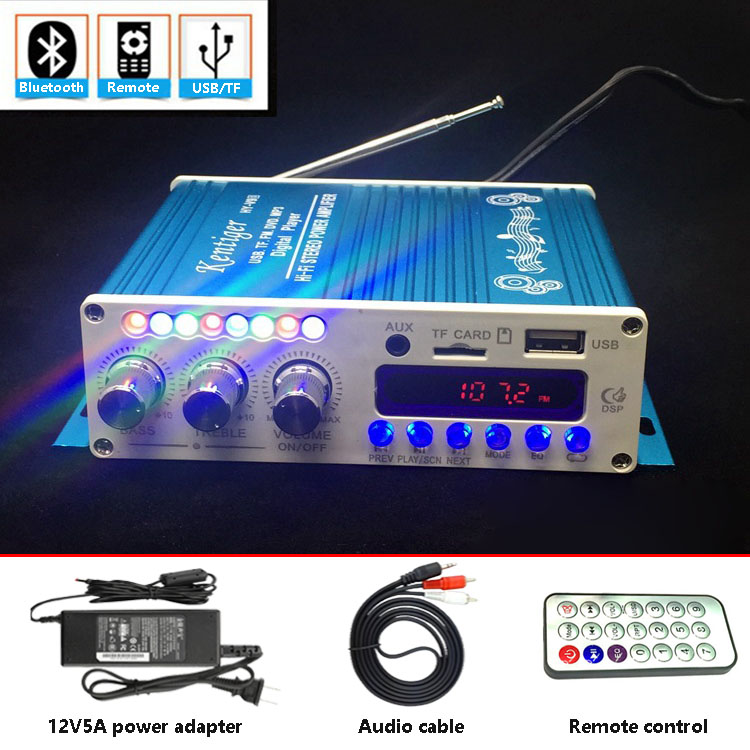 With 12V 5A Power Adapter & AV Cable KENTIGER HY-V10 Remote Control  Bluetooth Amplifier With USB TF FM Play AUX in Amplificador