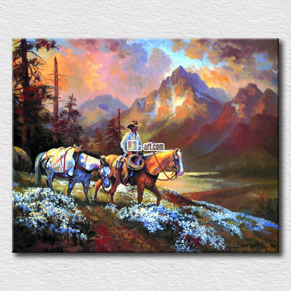 Human horse and sunset oil paintings reproduction canvas prints high quality arts for home decoration