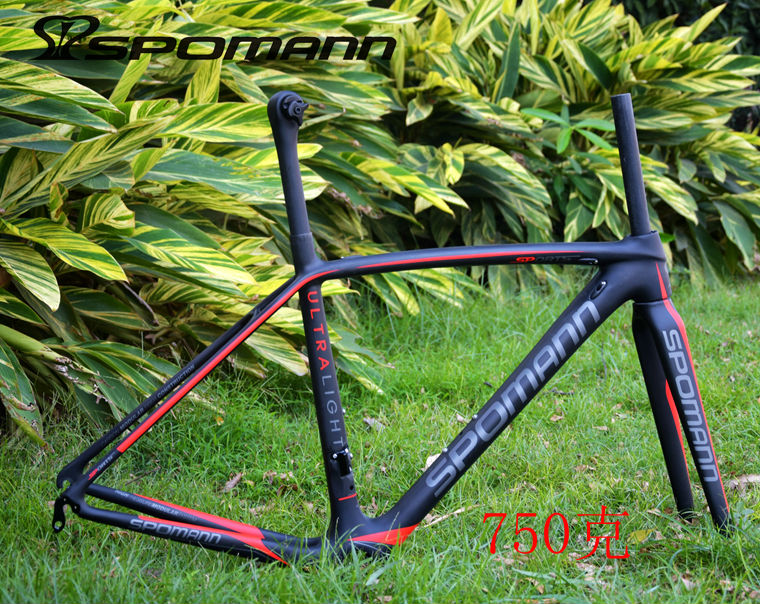 Newest Lightest SPOMANN Red Green 700C Road Bike Matte UD Full Carbon Fibre Bicycle Frames Fork