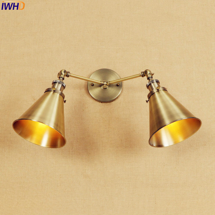IWHD Sconces Retro LED Wall Light Fixtures 2 Heads Iron American Loft Style Industrial Arm Wandlampen Vintage Brass Wall Lamp iwhd loft style creative retro wheels droplight edison industrial vintage pendant light fixtures iron led hanging lamp lighting