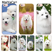 MaiYaCa adorável cão Samoieda Capa Case Transparente para iphone 11 Pro XR XS Max 8 7 6 6S Plus X 10 5 5S SE Coque XS XR XSMAX(China)