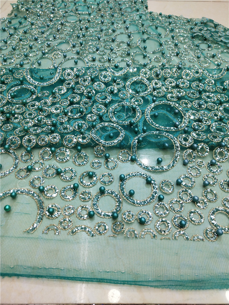 5 Yards/lot New Style Tulle Net Lace With Beads Abd Glitter BZL-91110 African Lace Fabric For Wedding Dress In Green Color
