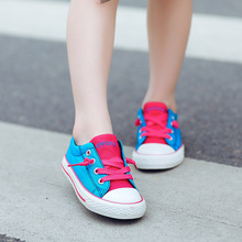 Children's board shoes boys and girls low-top casual shoes hit color lovely canvas shoes decorative dart board king ring for boys and girls