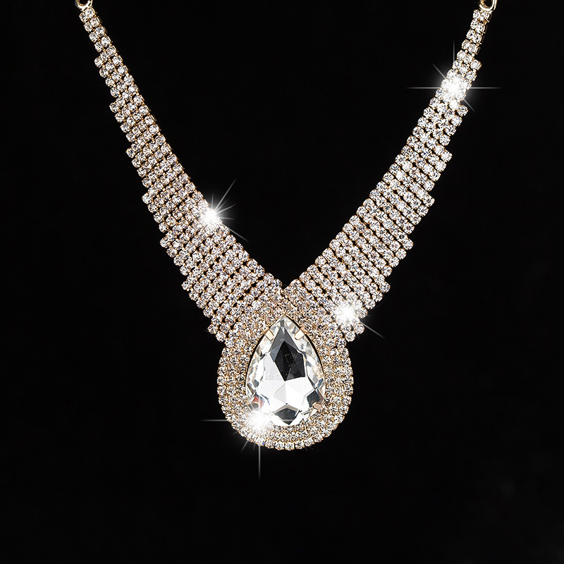 2016 Fashion personality sexy selling dinner super large drop sparkling full rhinestone crystal necklace for women female #N005
