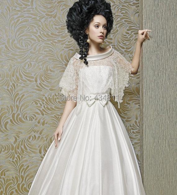 Vintage 1980 Style Strapless Empire Waist Beautiful Bow Wedding Dresses  Lace Jacket Taffeta A Line Bridal Grown-in Wedding Dresses from Weddings   Events  on ... 72fe87e7cdbc