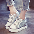Nuevos zapatos de Tacón Alto de Las Mujeres Zapatos Casuales de La Moda Aumento de la Altura de 8 cm Otoño Versión Coreana Zapatos de Lentejuelas Planas Plataformas Zapato