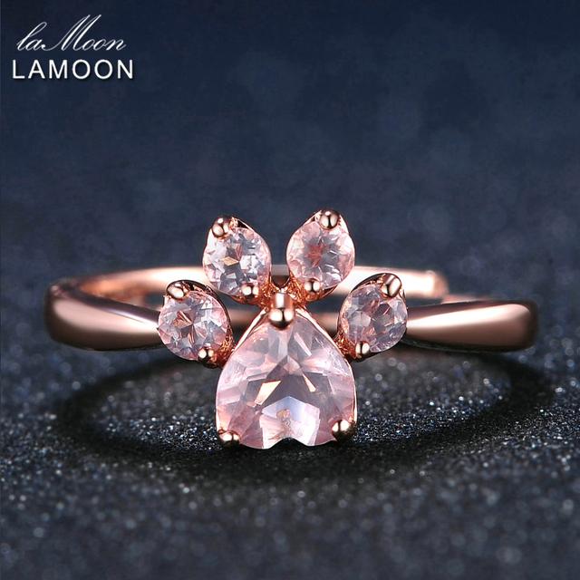 LAMOON Bear's Paw 5mm 100% Natural Pink Rose Quartz Ring 925 Sterling Silver Jewelry Rose Gold Romantic Wedding Band LMRI027