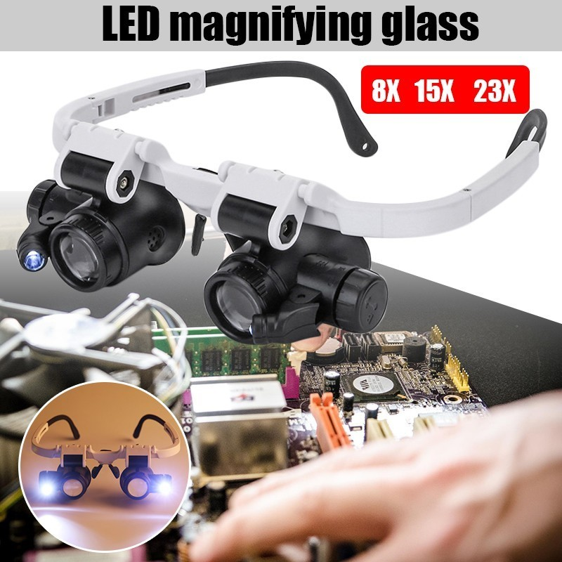 цена на Magnifying Glass 8X 15X 23X Double LED Lights Eye Glasses Lens Magnifier Loupe Jeweler Watch Repair Tools Set