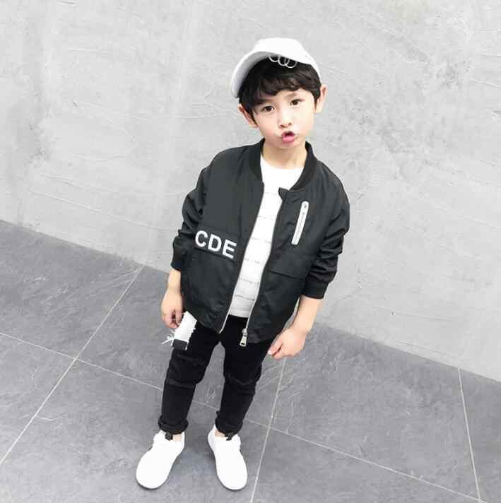 WLG/Одежда для мальчиков; детское черное пальто с буквенным принтом; сезон весна-осень; модные Универсальные куртки для малышей; детская одежда