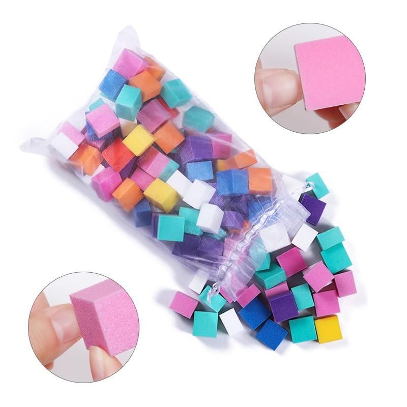 60 Unids / set Mini Irregular Nail Buffer File Colorido Esponja de - Arte de uñas