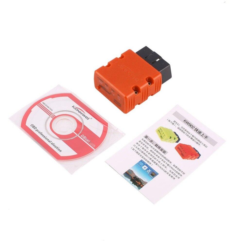 Konnwei KW902 ELM327 Bluetooth OBD2 De Voiture de Diagnostic De Défauts Scanner Détecteur Outil Lecteur de Code OBDII Scanner Interface