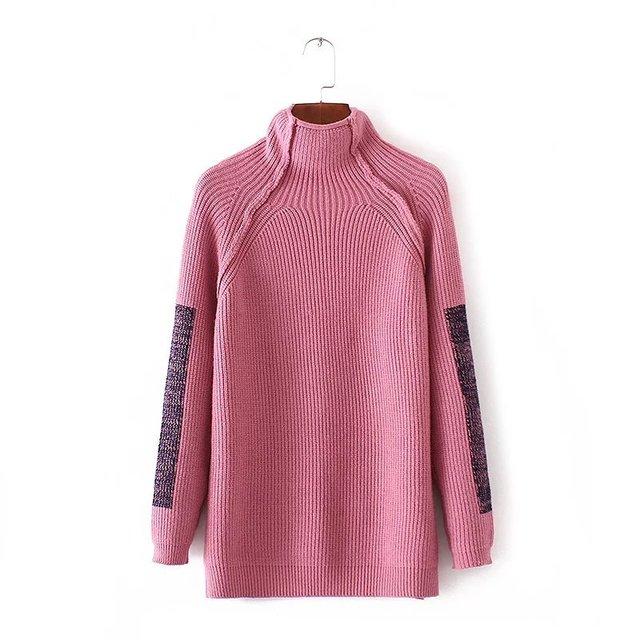2016 outono e inverno nova moda estilo Europeu engrossar gola solta camisola das mulheres