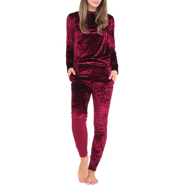 Women Crushed Long Sleeve Soft Solid Color Velvet Suit Sweatshirt Pant Tracksuit Wear
