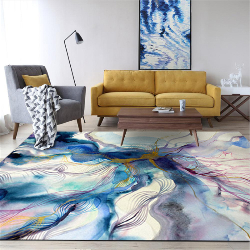 US $15.78 |AOVOLL Carpets For Living Room Nordic Abstract Art Colorful Ink  Blue Purple Gold Carpet Christmas Rug Bedroom Rug Anti slip Mats-in Carpet  ...
