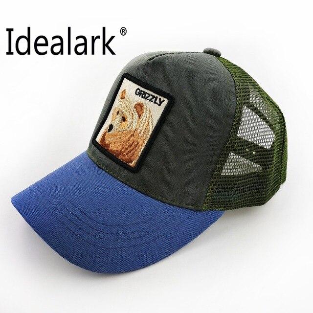 8139482755c Casual Baseball Caps For Men Embroidery bear Snapback cap Women Summer Mesh  Trucker Bones Unisex Hip