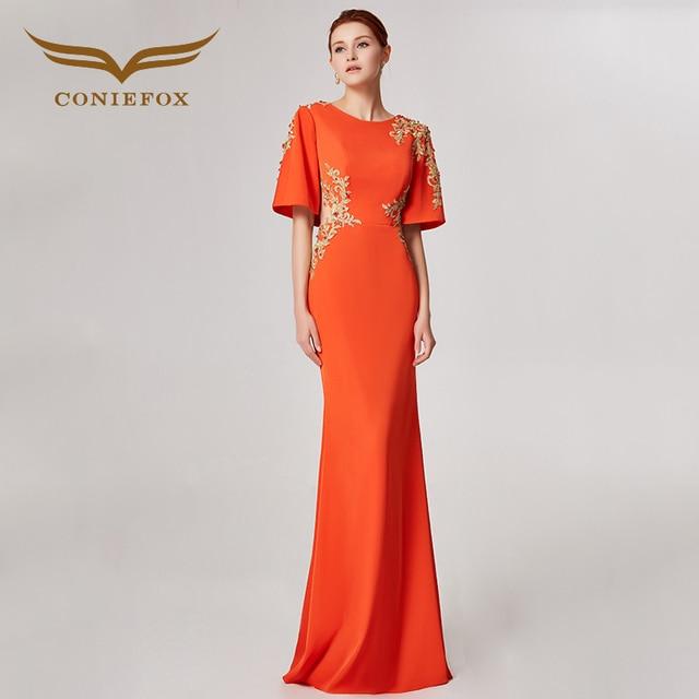 Coniefox 32636 оранжевый с круглым вырезом Модные пикантные Русалка Дамы ретро элегантность аппликации платья для выпускного вечера Вечерние вечернее платье длинное
