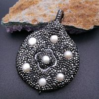 HP031 1 PC 50x65mm White Pearl White Shell Pendant Trimmed With Crystal Zircon