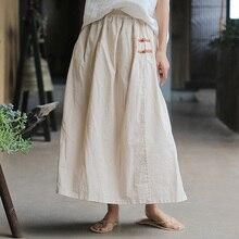 Johnature, женские юбки, 4 цвета, винтажные, на пуговицах, с эластичным поясом,, летние, новые, с карманами, хлопок, лен, женские, трапециевидные юбки