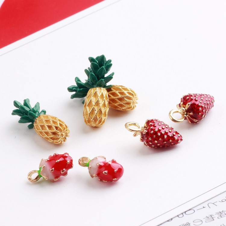 2017 NEW Pineapple/Strawberry Metal Charm 10pcs, Charms for Bracelet/Earring/Necklace, Jewelry Finding