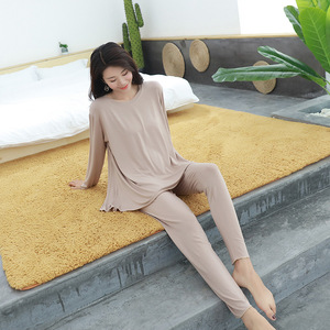 Image 4 - women pajamas set Autumn new home suits Modal short sleeved shirt + trousers  two piece sets loose sleepwear pijama lingerie