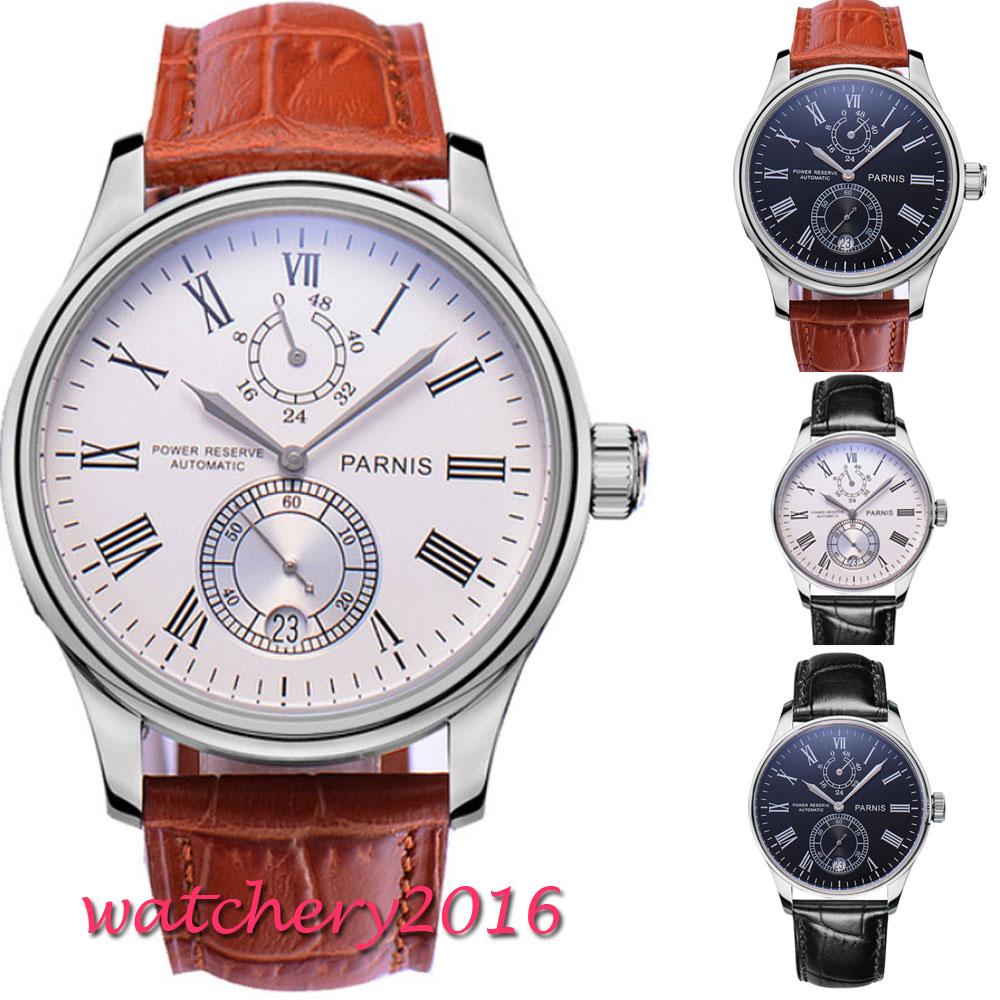 43mm Parnis White Dial Date Roman Numerals Power Reserve Romantic Sweet Luxury Brand Automatic Movement men's Watch l120 romantic date
