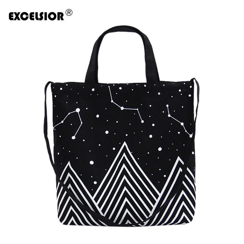 EXCELSIOR 2018 New Bags Canvas Shoulder Bag Black Universe Pattern Printed Handbag Lady Casual Shopping Bag bolsa feminina G1056 free shipping casual canvas shopping bags black color with fish pattern shoulder bags shopping bag handbags e08