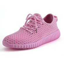 Купить с кэшбэком JINBEILEE Lace-up Mesh Running Shoes Women's Single Hollow Breathable Casual Jogging Shoes Flat-bottomed Sneakers