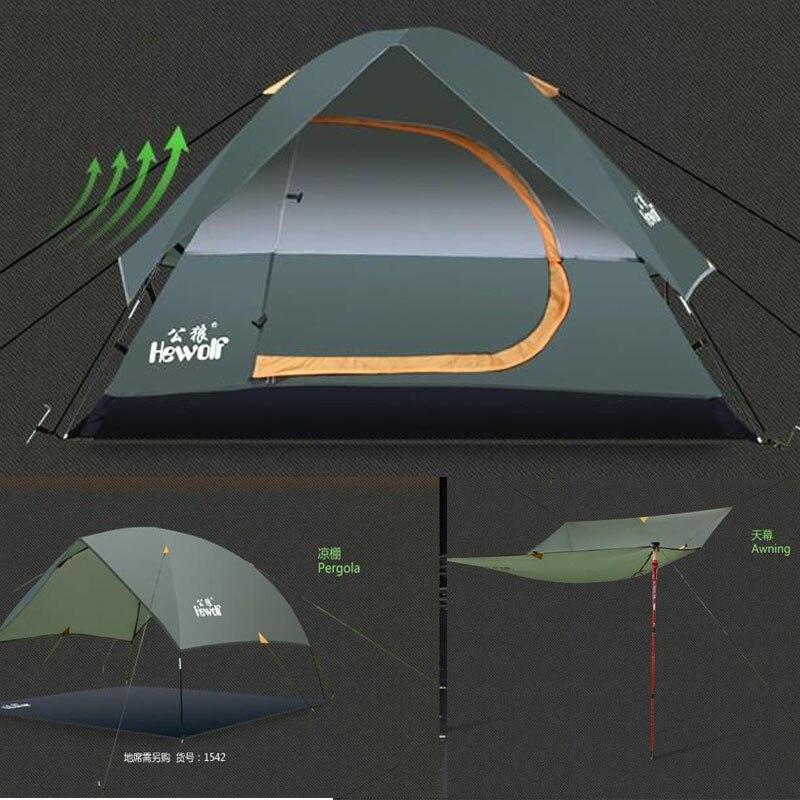High Quality Waterproof Fiberglass Double Layer 2 3 4 Outdoor Camping Hiking Hewolf Beach Tent Tourist travel 2015 New china