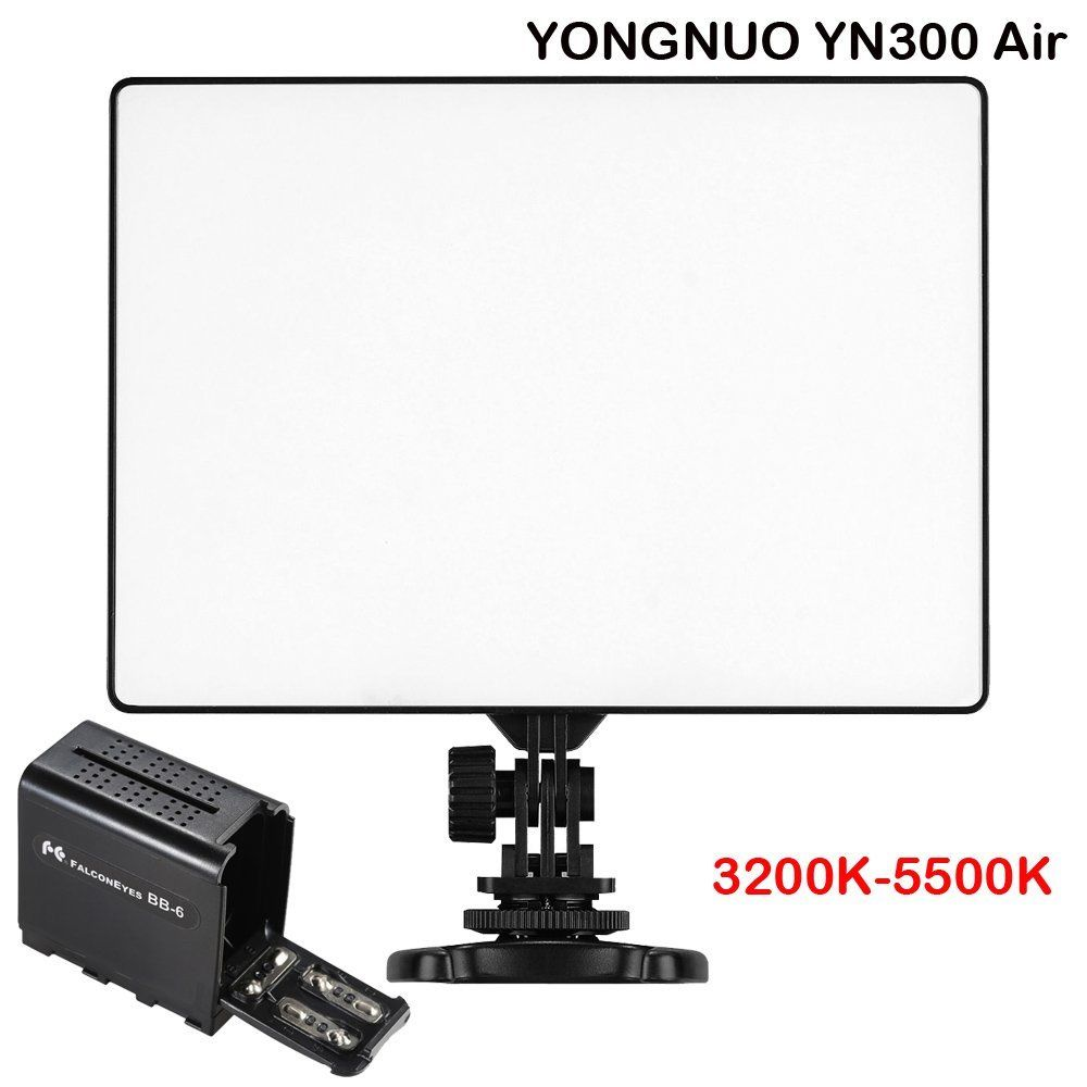 Yongnuo YN300 Air 3200K-5500K LED Video Light + Hard Battery Case For DSLR Camera / Camcorder ,LED Light yongnuo yn300 air 3200k 5500k yn 300 air pro led camera video light with np f550 battery and charger for canon nikon