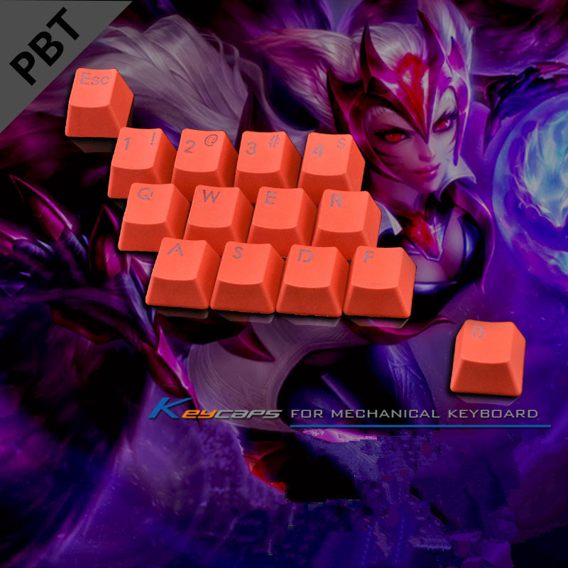 PBT Backlit <font><b>Keycaps</b></font> LOL <font><b>14</b></font> Keyset Backlight Key Caps With Key Puller For Cherry MX Switches Backlit Mechanical Keyboard <font><b>Keycaps</b></font> image
