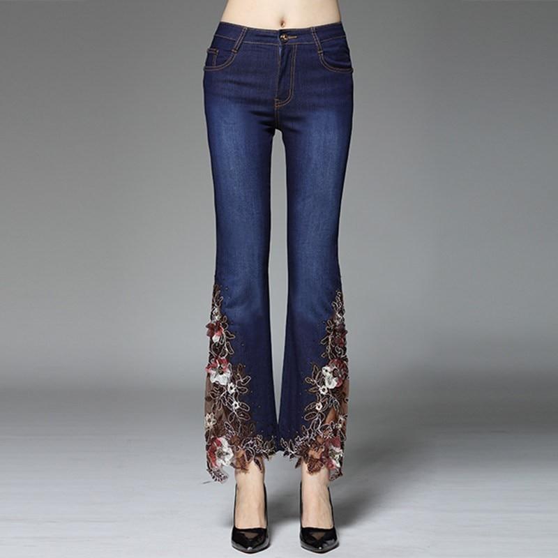 2 Longueur Large 1 Plus Flare Jeans Pantalon Taille 3 Femmes Maigre Floral Sexy Jambe Mode Broderie Nouveau Haute Extensible Dentelle Perles Cheville La qa1ZRA