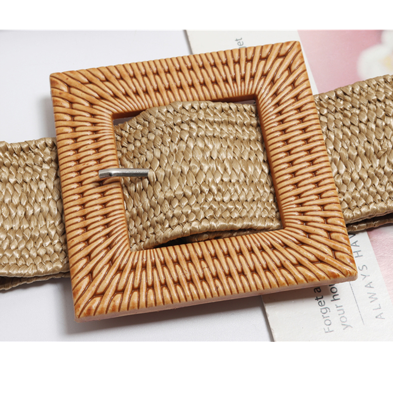 New Vintage 2019 Handmade Womens Style Simple Bohemian Belt With Wood Buckle Decoration Dress Elastic Cummerbund Casual Female