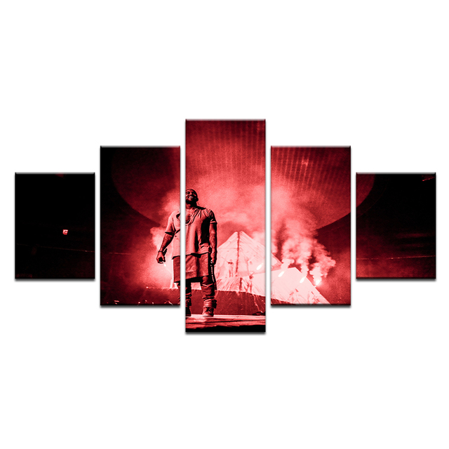 2e9ef7eb10353 US $5.52 43% OFF|5 Panels Canvas Prints KANYE WEST Fans Canvas Painting  Home Decor Wall Art Canvas Poster Music Singer Star Picture-in Painting &  ...