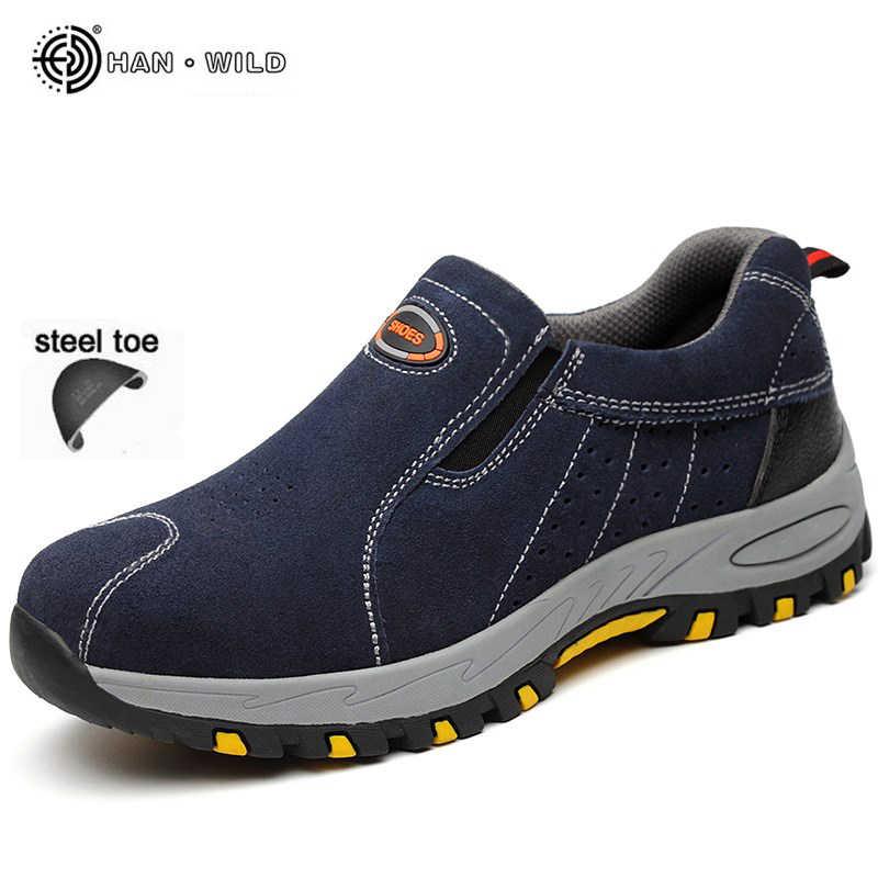 男性作業安全靴鋼安全ブーツ男性通気性牛革滑り穿刺防水アウトドアシューズプラスサイズ 37-46