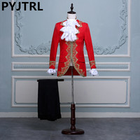 PYJTRL Men Classic Palace Wedding Suits Red White Black Embroidery Prom Party Tuxedo Latest Coat Pant