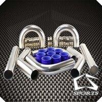 2.5 inter663mm intercooler tubo de alumínio/tubulação turbo engine + t-grampos + silicone mangueira kits turbocharged inter cooler