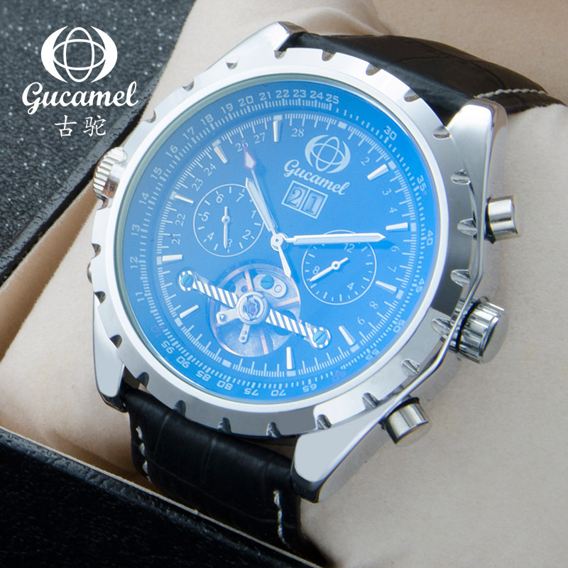 GUCAMEL Luxury Brand Mens Watch Fashion Blue Glass Mechanical Male Wristwatch Tourbillon Steel Leather Watches Relojes Hombre