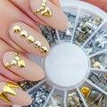 Mejor precio Nueva Buena Calidad de Plata de Oro Remache Punky Espárragos Nail Art Decoración Pegatinas Metallic Gold Del Clavo DIY 1 Unidades