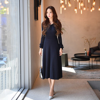 Dabuwawa Women Winter V Neck Hollow Out Knitted Maxi Dress Two piece Butterfly Sleeve Vintage New Elegant Long Dress for Girls