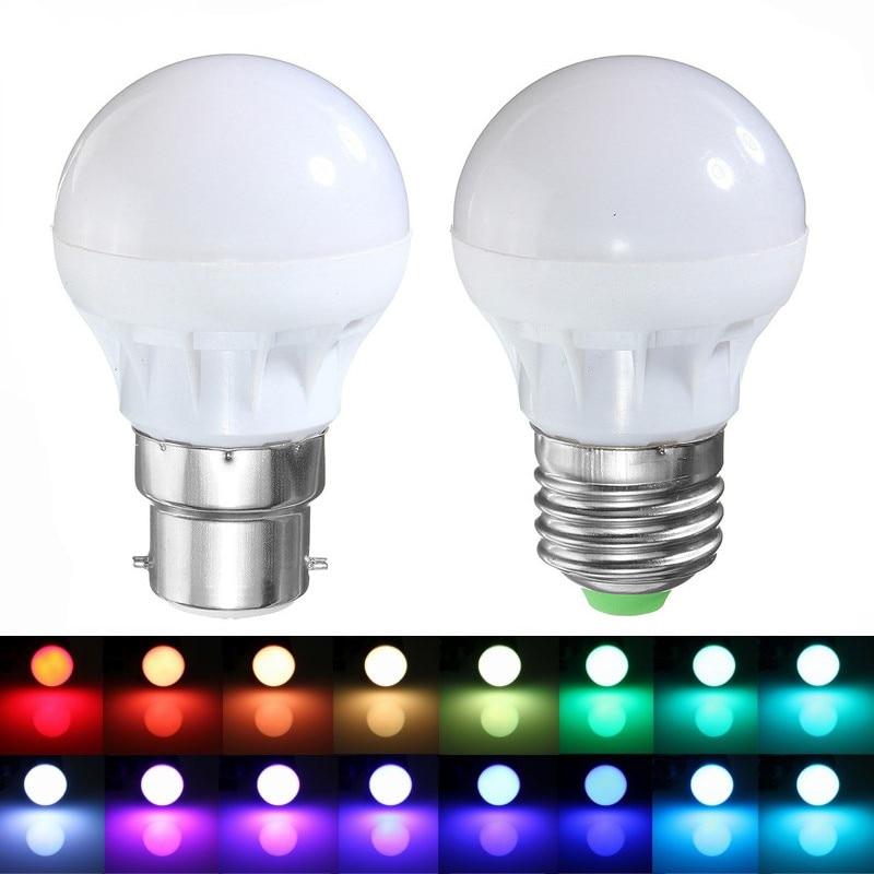 RGB 6 LED Light Globe Bulb E27 / B22 3W 5050 SMD Energy Saving Lamp Bulb 16 Colors Changing Home Decor DIY Lighting AC85-265V