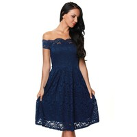 2017 Wine Red Blue Black Lace Dress Women Off Shoulder Fit And Flare Korean Fashion Clothing