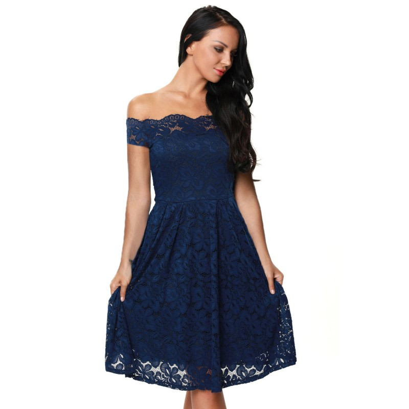 2017 Wine Red Blue Black Lace Dress Women Off Shoulder Fit -1700